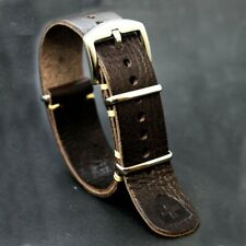 Leather watch Strap, Military Wristwatch band,brown Handmade 18/20/22/24 mm