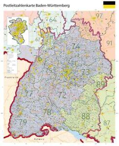 Karte Plz.Details Zu Große Xl Postleitzahlenkarte Baden Württemberg Plz Poster Karte Land B0 2018