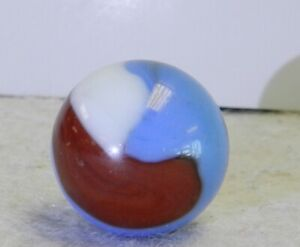#11864m Vintage Akro Agate Red White and Blue Corkscrew Shooter Marble .79 In