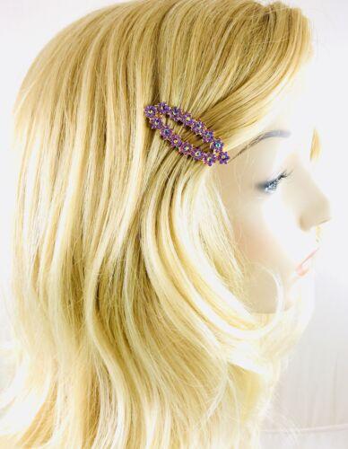USA Flower Magnet Hair Clip Hairpin  Rhinestone Crystal Barrette Purple A21