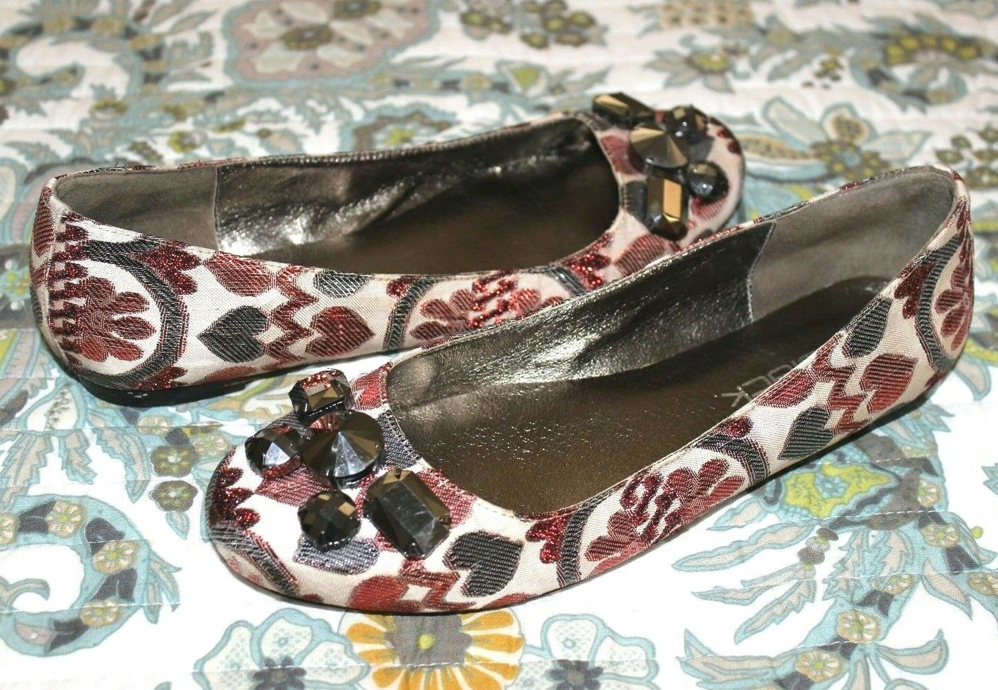 DANIBLACK Jeweled Red Hearts Brocade Flats 8.5 Valentine's EXCELLENT  L@@K 22