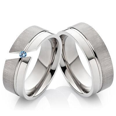 2 Verlobungsringe Eheringe aus Titan mit echtem Blautopas + Ring Gravur TD1T
