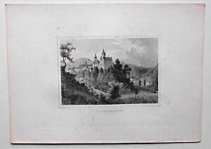 Schwarzenberg-Sachsen-Schloss-und-Stadt-Stich-Original-Stahlstich-um-1870