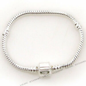 10x-150719-Plated-Silver-FASHION-Snap-Clasp-Snake-Chain-Bracelets-Fit-Bead-22cm