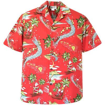 Christmas Hawaiian Shirts.500 1228 Happy Holidays Christmas Hawaiian Shirt Santa Ukulele Canoe Reindeer Ebay