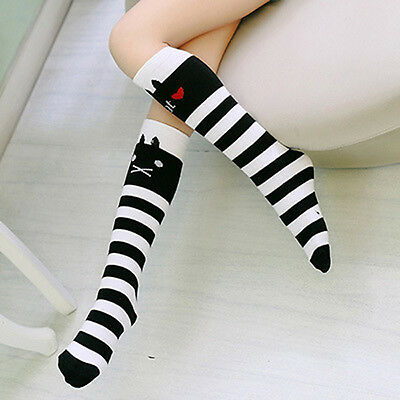 Kids Girls Cotton Socks Tights Bowknot Leg Warmer School High Knee Stockings
