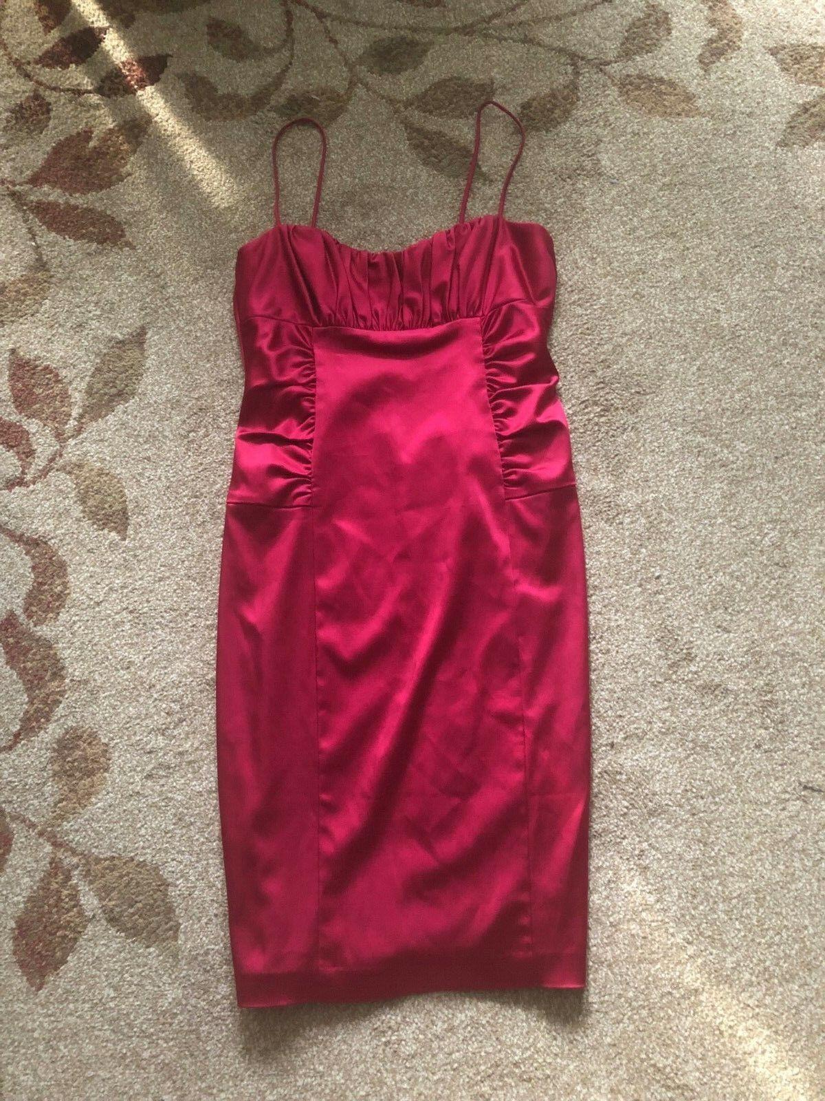David Meister Red Satin Ruched Strappy Midi Bodycon Dress Dress Dress 12 862739