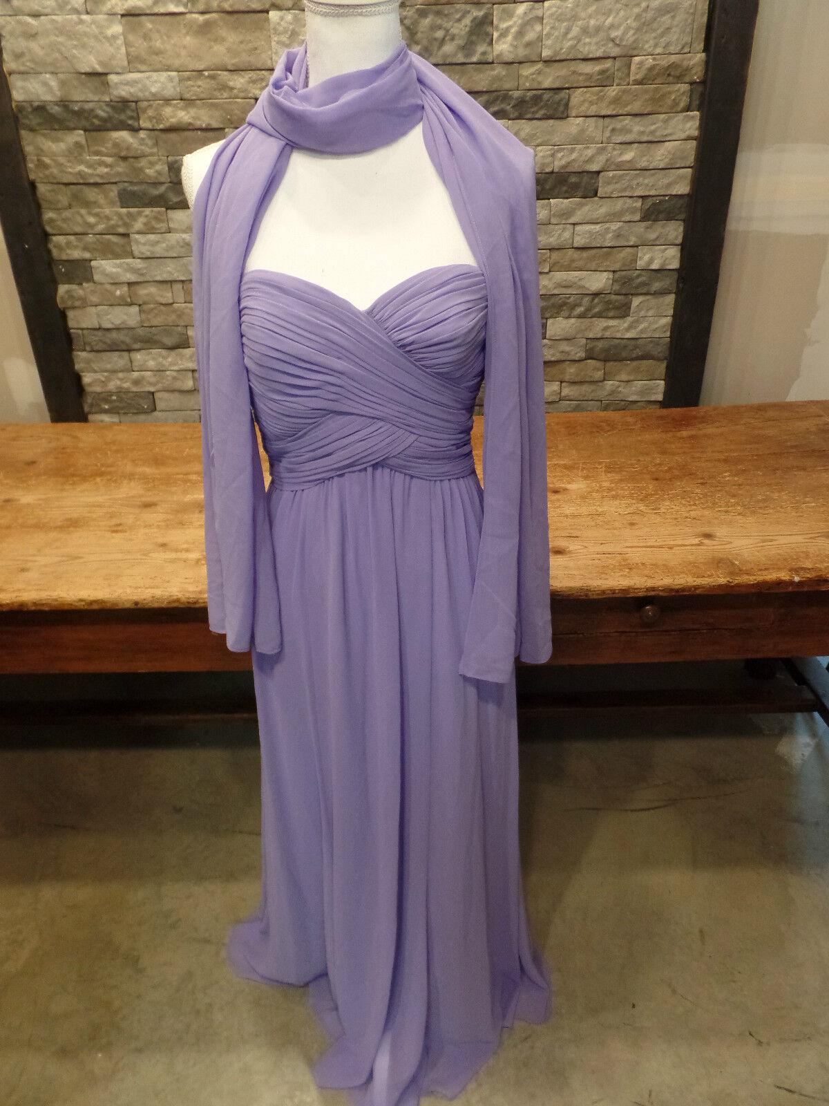 Ralph Lauren Dress Emmie Shawl Evening Prom Strapless purplec Size 4 NWT