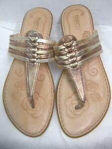 8b2f9acb8011e Born Womens Thong Sandals Size 9 M Shiny Gold   Bronze Strappy Flip ...