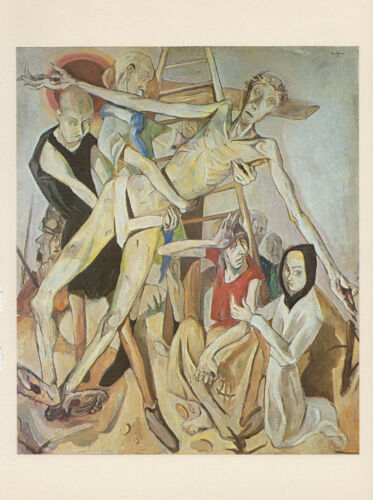 """1974 Vintage BECKMANN /""""THE DESCENT FROM THE CROSS/"""" JESUS COLOR Offset Lithograph"""