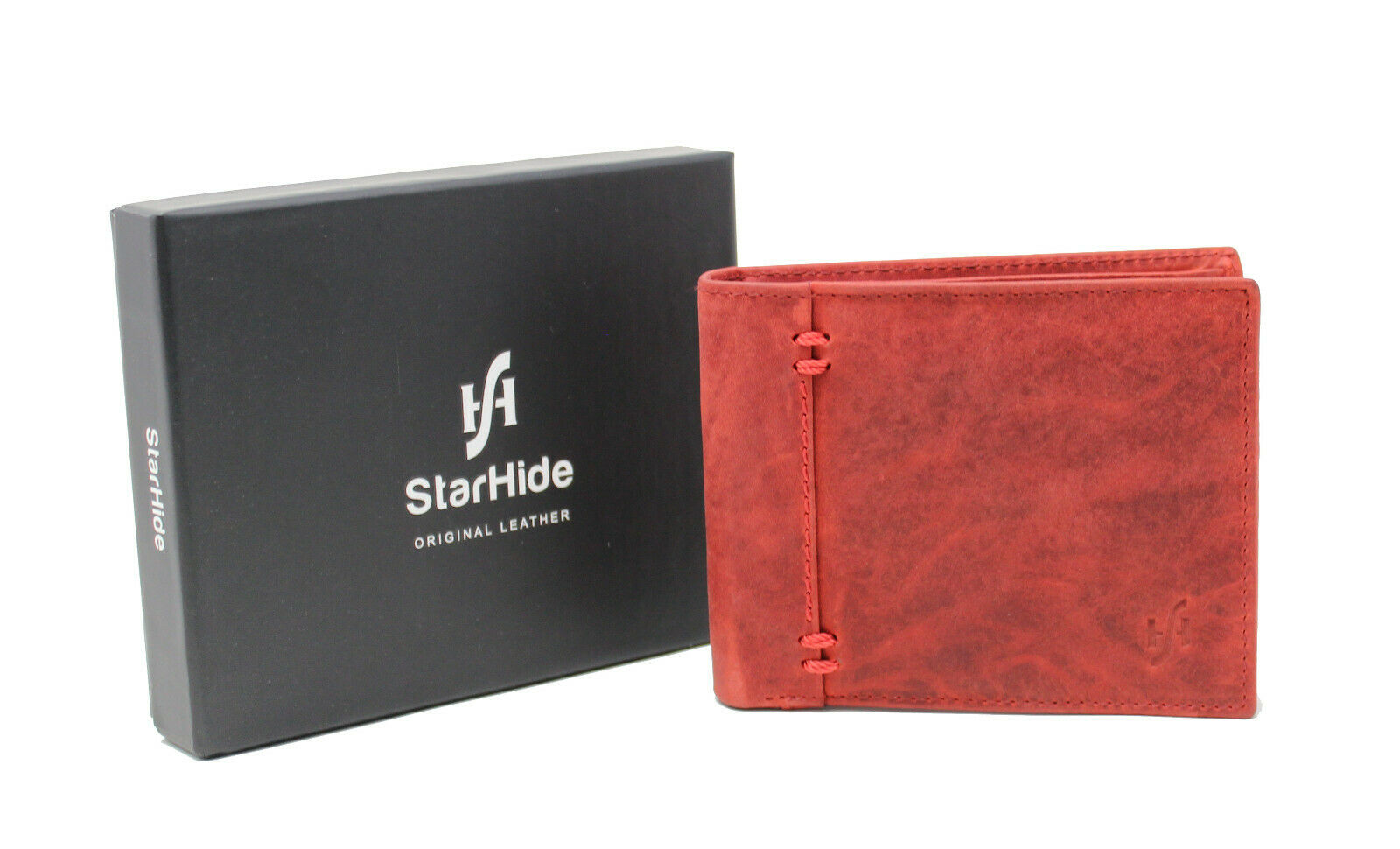 Mans Red Wallet RFID Blocking Protector Distressed Leather Wallets For Men 1055