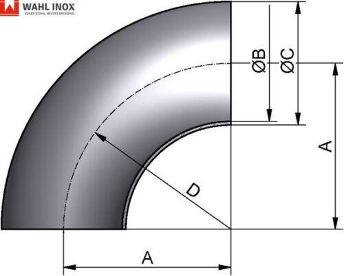 Rohrbogen 90° V2A Edelstahl Schweißbogen Krümmer walzblank verschiedene Größen