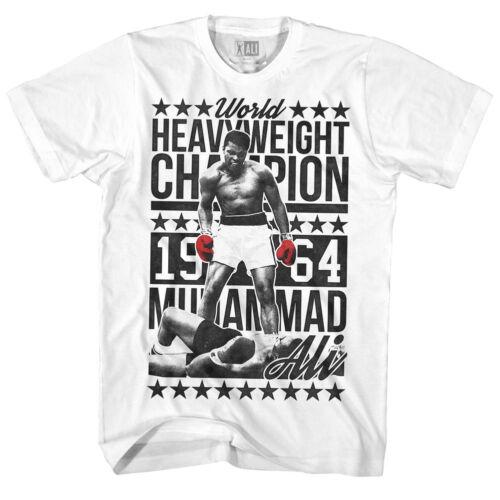 5XL 100/% WHT Cotton Muhammad Ali Boxing T-Shirt Mens 1964 Champion Sizes SM