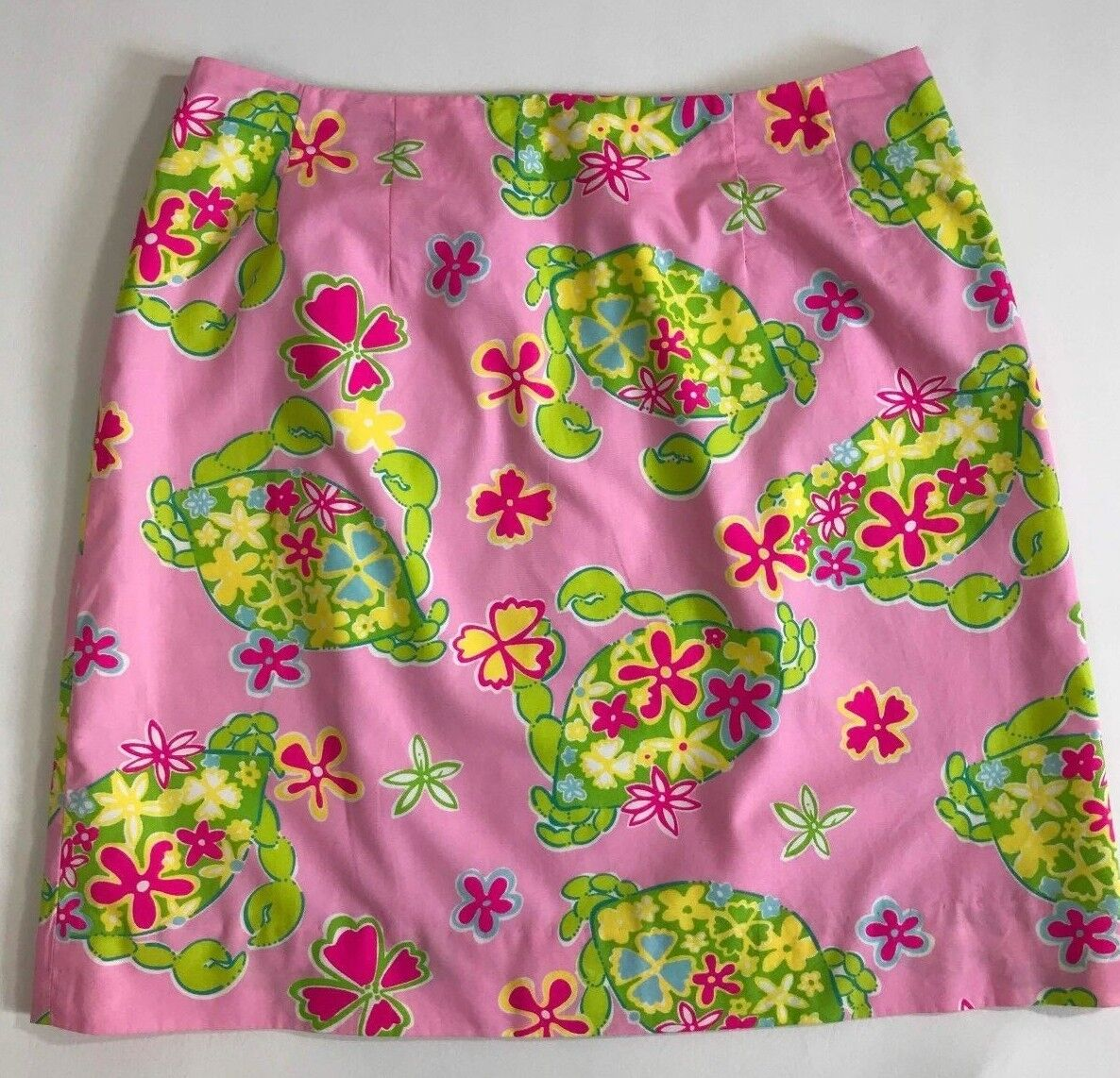 Lilly Pulitzer Sz 4 90s A-line Lined Skirt Pink Green Crab Short Womens