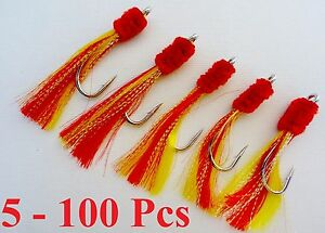 5-100-pcs-7-0-Shrimp-Fly-Rigs-Red-Yellow-Rockfish-Baits-Select-Qty