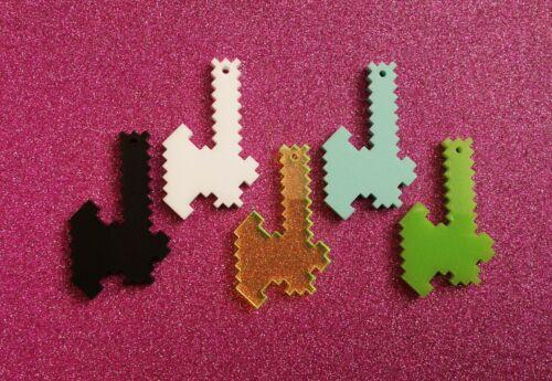 5x pixel axe gamer acrylic charm//pendants//jewellery making//craft/'s//laser cut