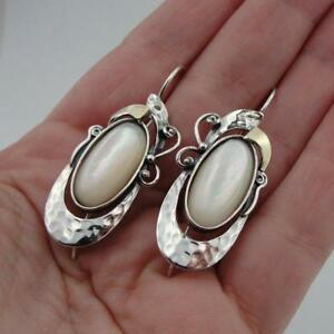 Details About Hadar Designers 9k Yellow Gold Sterling Silver Mop Pearl Earrings Handmade Ms