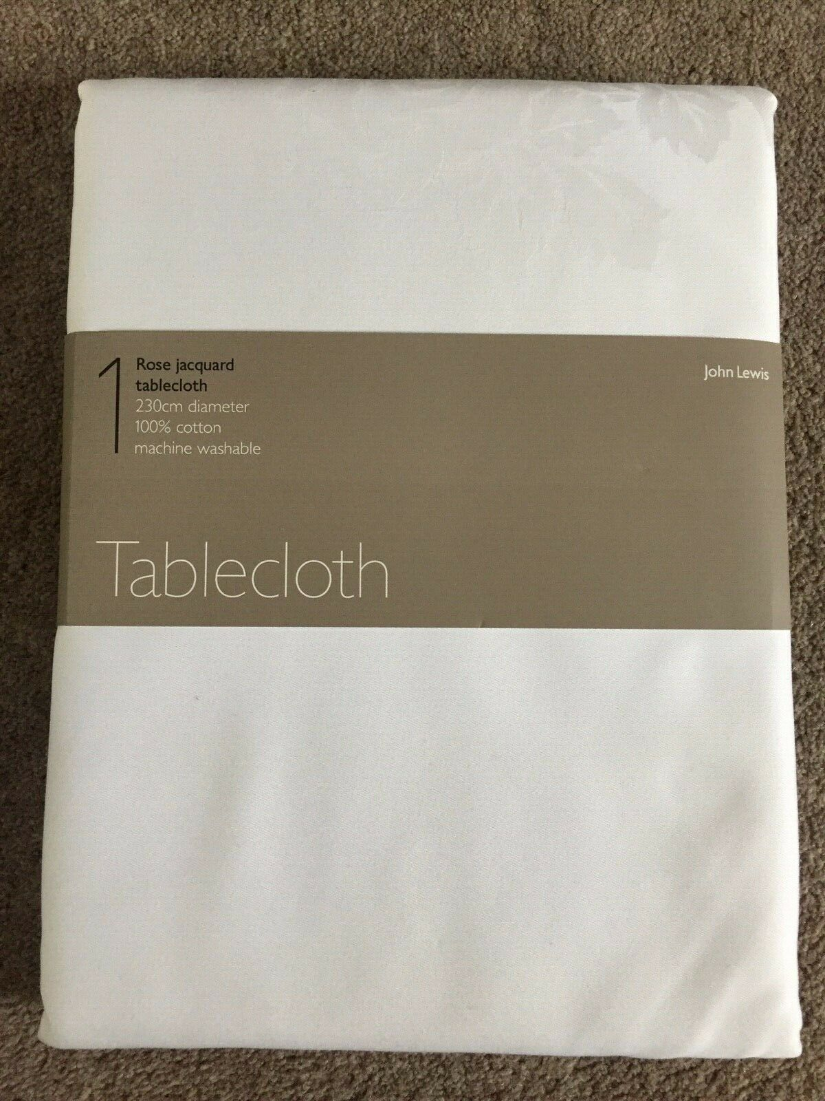 JOHN LEWIS pink JACQUARD TABLECLOTH IN WHITE, 230 CM DIAMETER, RRP