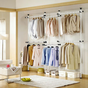 DIY Clothes Rack Hanger Adjustable Hanging Rolling Garment ...