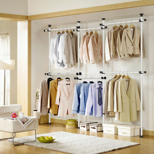 Adjustable Portable Clothes Rack Hanger Hanging Rolling Garment Stand Heavy Duty