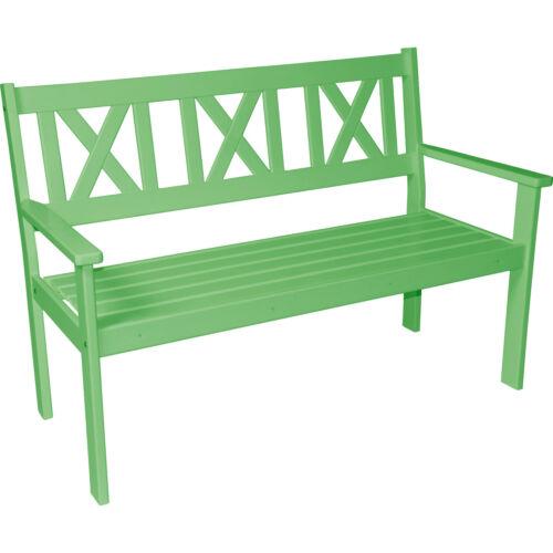 Gartenbank Bank Parkbank Sitzbank 3 Sitzer Kiefernholz grün lackiert 129 cm