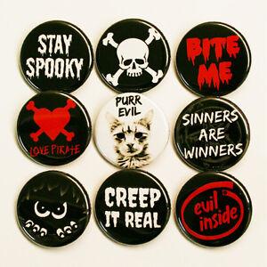 SPOOKY-CREEPY-Set-of-9-BADGES-Buttons-Pinbacks-Lot-Size-32mm