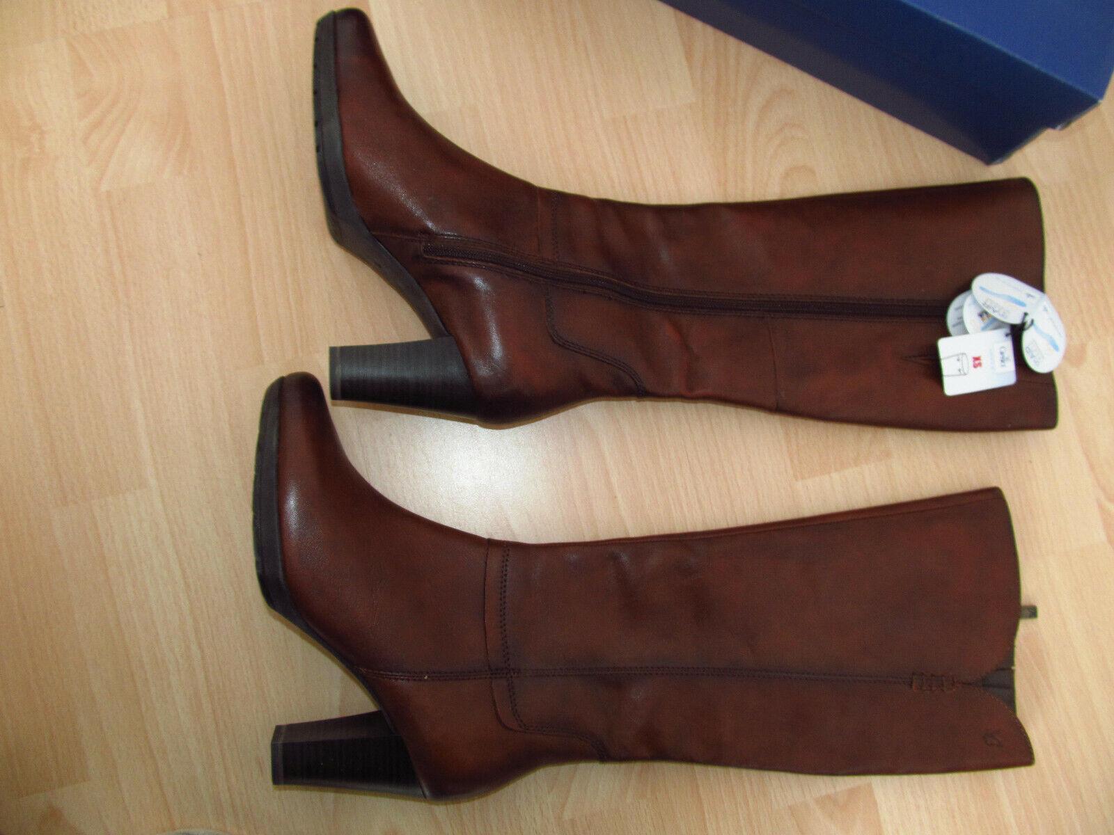 Hochwertige Caprice Stiefel 38 NEU Leder Schuhe Stiefeletten braun Cocnac Damen