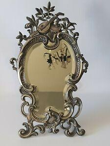 ???? Ancien Miroir Psyché Rocaille En Bronze Argenté