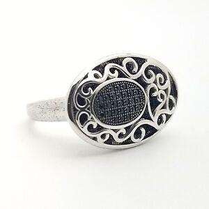 ST 925 Sterling Silver Black Spinel White Topaz Flower Cluster Ring