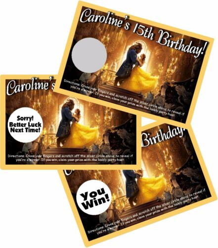 10 BEAUTY AND THE BEAST SCRATCH OFF OFFS PARTY GAME GAMES CARDS BIRTHDAY FAVORS