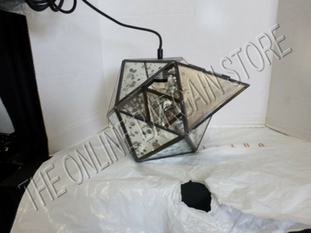 Pottery Barn West Elm Foxed Mirror Faceted Pendant Chandelier Light Bronze