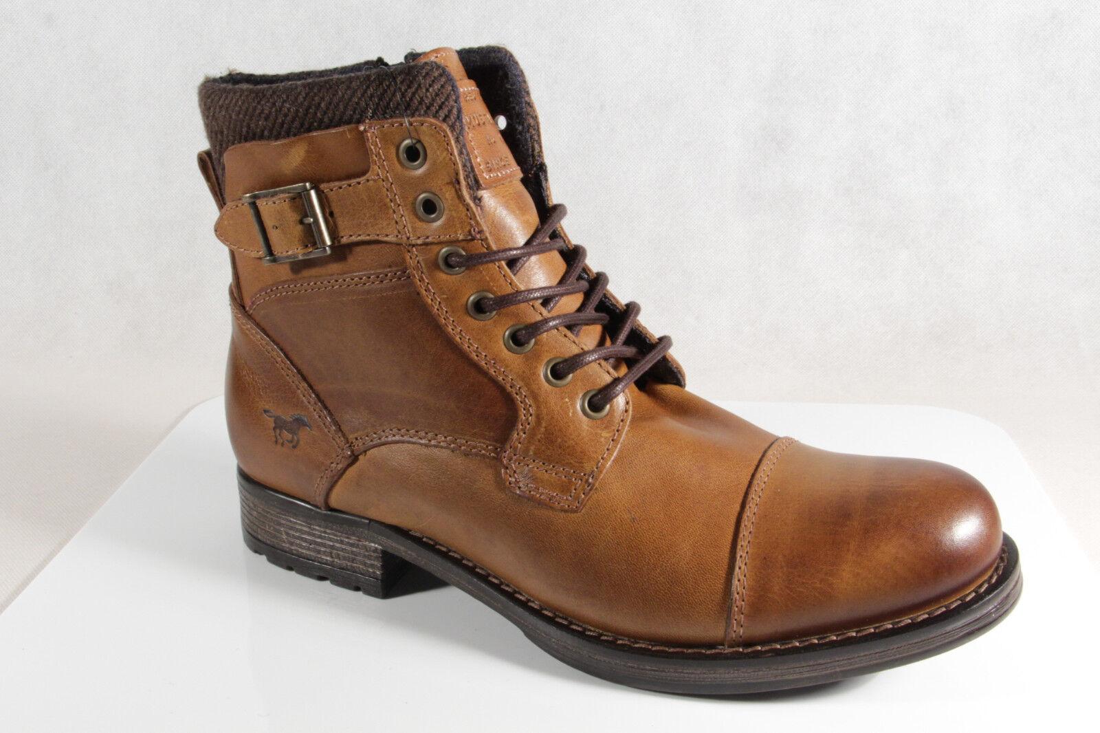 Mustang Stiefel Boots Schnürstiefel Winterstiefel braun Echtleder 4865 NEU