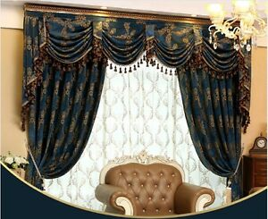 Details about Luxury Jacquard Chenille curtain Valance drapes for large  living room customize
