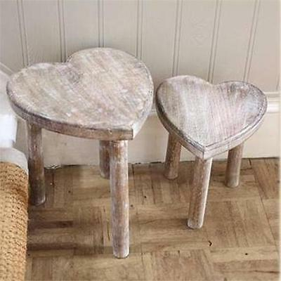 Two Wooden Heart Stools Shabby Chic Style Heart Nest Of Side Tables Heart Table