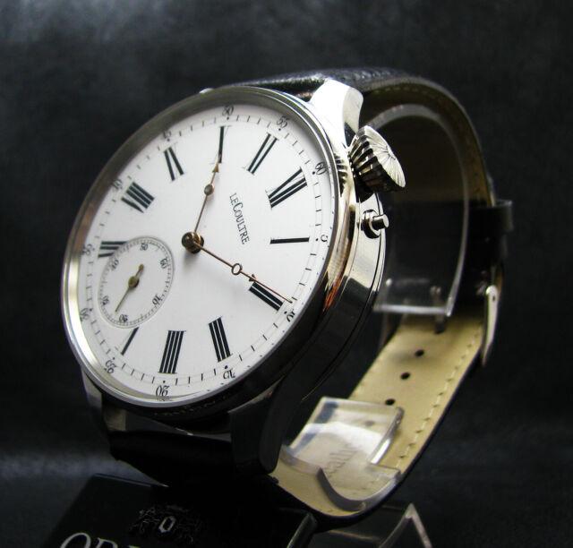 Le COULTRE Driver's Antique 1900's Large Steel Wristwatch Porcelain Dial
