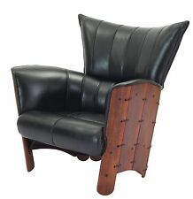 """40"""" W Arm chair soft Italian black leather brown polished solid wood unique"""
