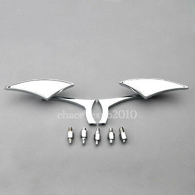 Chrome Motorcycle Cruiser Chopper Rear view Side Mirrors For Yamaha Honda Harley