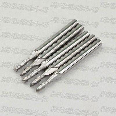 2mm x 12mm x 3.175mm Spiral Flute Carbide Micro Drill Bits Engraving Tool 6 Pcs