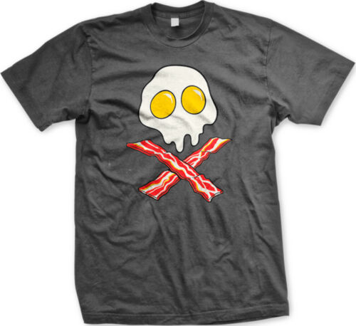 Bacon And Eggs Skull And Crossbones Breakfast Food Meat Funny Humor Mens T-shirt