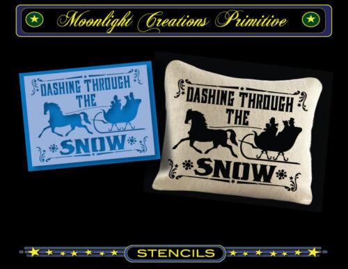 Primitive Stencil~DASHING THROUGH THE SNOW 2013~Vintage~Horse Sleigh Victorian