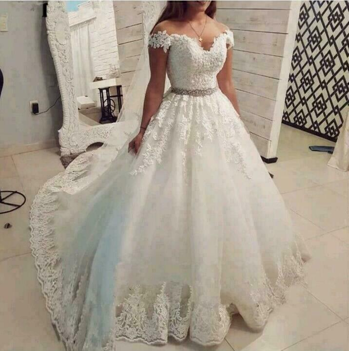 Off the Shoulder Wedding Dresses Lace Applique With Beaded Belt Bridal Ball Gown