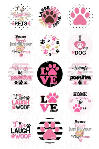 Precut Bottle Cap Images Always be positive woof Pink Pet Dog 1 inch 15 pcs