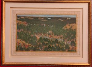 Hand-Painted-Synt-Ivory-Hunting-Scene-Miniature-Painting-India-Artwork-Framed