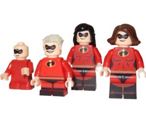 Elastigirl Dash etc x4 **NEW** LEGO Custom Printed THE INCREDIBLES Minifigures