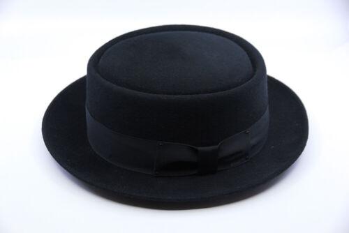 Mens Bailey Black Jett Pork Pie Hat 7 1/2 60cm