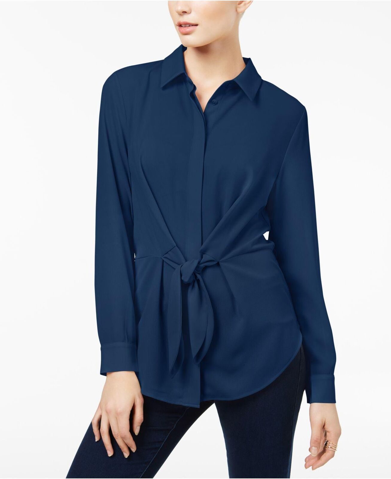 Inc International Concepts Twilight Mixed-Media Tie-Front Button-Down Shirt M