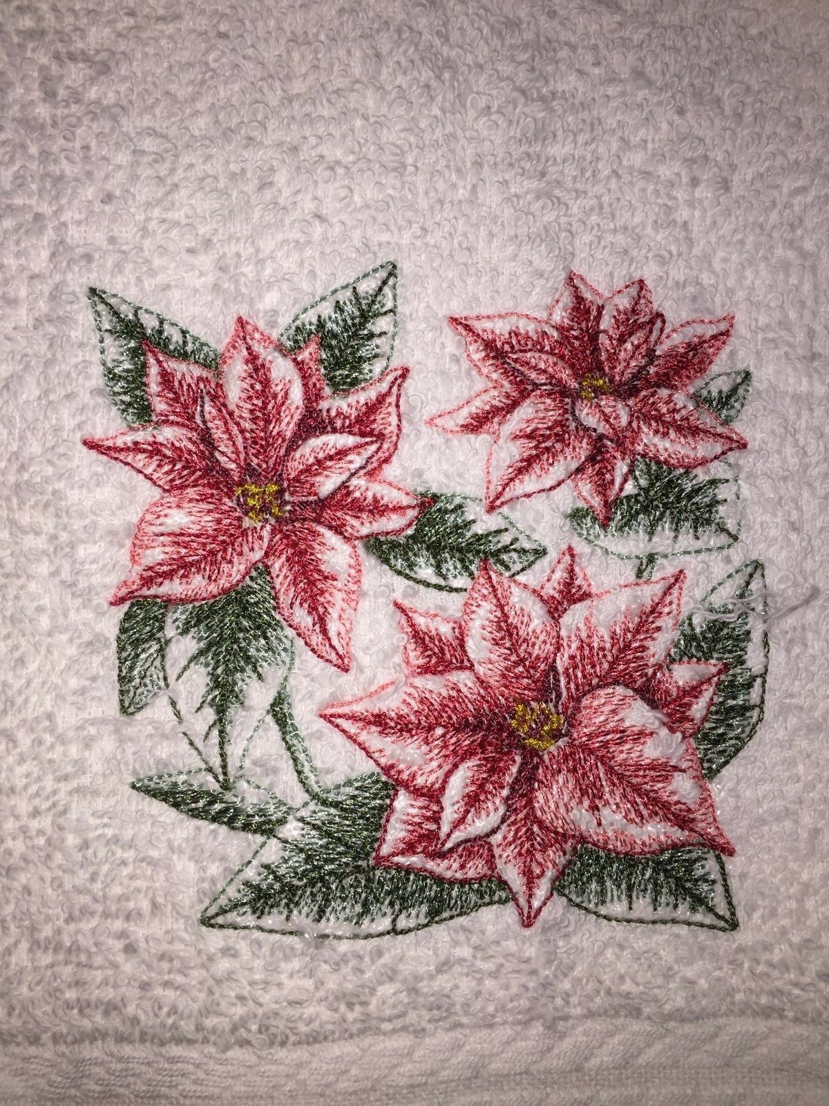 Embroidered White Bathroom Hand Towel 3 Red Christmas Poinsettias Sketch HS1050