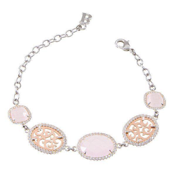 Bracciale Boccadamo bronzo rodiato zirconi cristalli briolette briolette briolette rosa Ref.XBR228R 54d89c