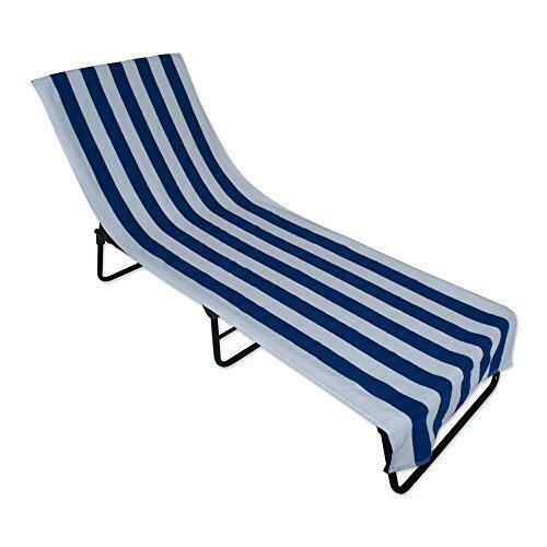 Dii Stripe Beach Lounge Chair Towel With Fitted Top Pocket 26x82 Blue For Sale Online