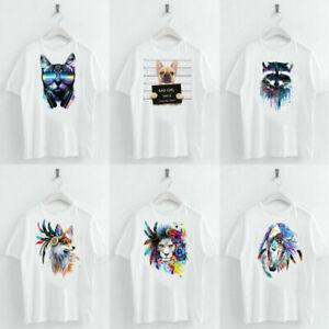 Animal-Heat-Printed-T-Shirts-Crew-Neck-Short-Sleeve-Loose-Summer-Women-Top-Tee